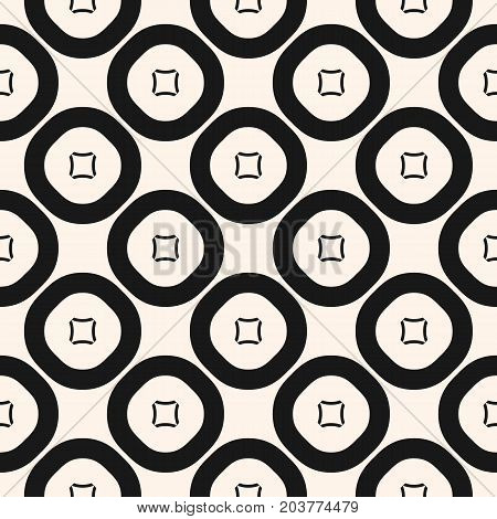 Simple vector geometric pattern texture with outline circles and squares. Abstract geometrical background. Monochrome seamless pattern, repeat tiles. Pattern design for decor, fabric, package, embossing, printing