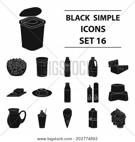 Milk product and sweet set icons in black design. Big collection of milk product and sweet vector symbol stock illustration