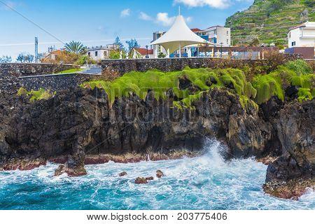 Coastline at Porto Moniz Madeira island Portugal
