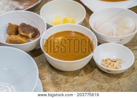 Clouse up Spices in white glass bowls