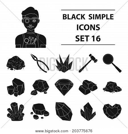 Precious minerals and jeweler set icons in black design. Big collection of precious minerals and jeweler vector symbol stock illustration