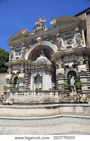 The Fountain of Neptune ornate antique landmark at Villa d'Este, Tivoli, Italy
