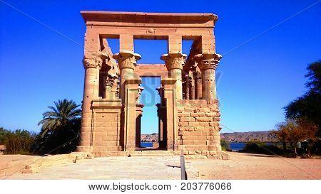 phaila temple under sun at Aswan Egypt