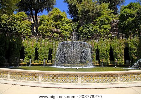 The Oval Fountain in park of Villa d'Este, Tivoli, Italy