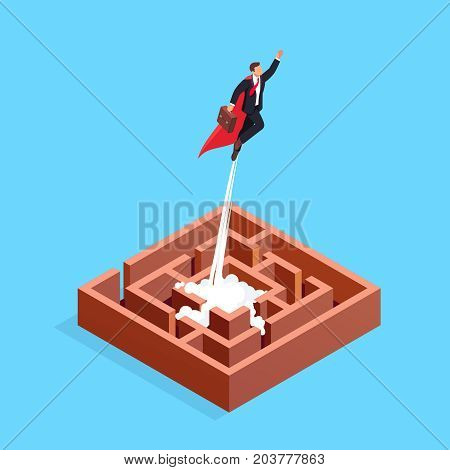 Business solution concept. Isometric Businessman flying as a superhero. Businessman in a raincoat superhero flew from 3D maze. Vector illustration.