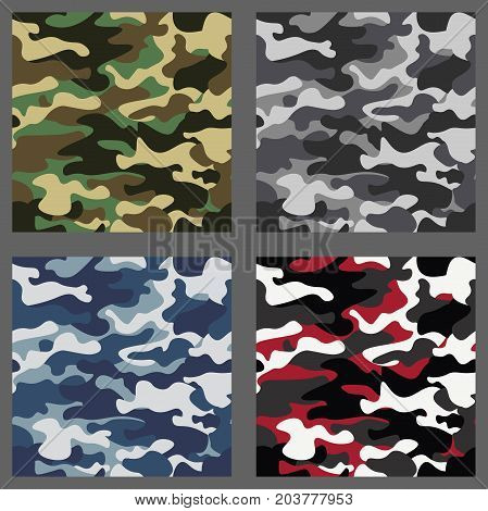 Set of camouflage seamless patterns background. Classic clothing style masking camo repeat print. Green, brown, black, olive, blue, ocean, pink, orange colors texture. Design element. Vector illustration