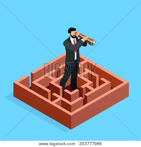 Isometric businessman looks in a spyglass. 3d businessman in the maze. Business search concept. Vector illustration.
