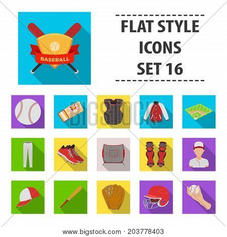 Ball, helmet, bat, uniform and other baseball attributes. Baseball set collection icons in flat style vector symbol stock illustration .