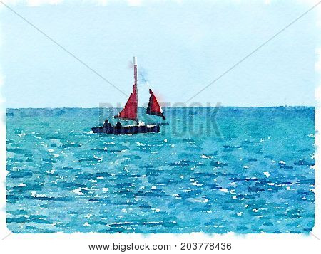 A digital watercolor painting of a sailing boat at sea with its red sails up and crew in the boat with space for text.