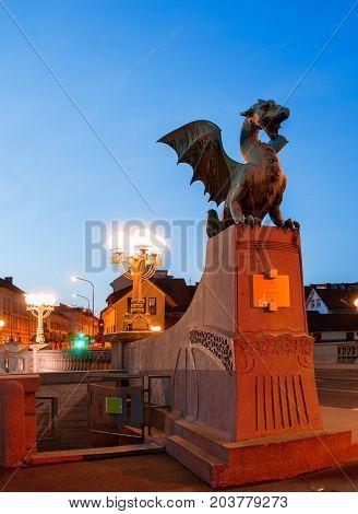 Slovenia. Ljubljana. Beautiful night view of the capital of Slovenia. Dragon Bridge
