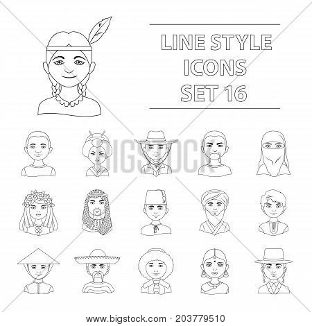 Chinese, russian, american, arab, indian, turk and other races. The human race set collection icons in outline style vector symbol stock illustration .