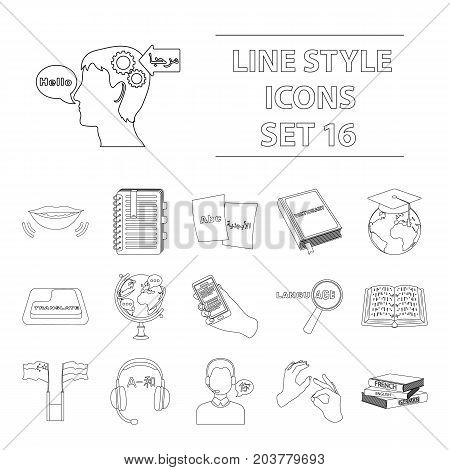 Interpreter and translator set icons in outline design. Big collection of interpreter and translator vector symbol stock illustration