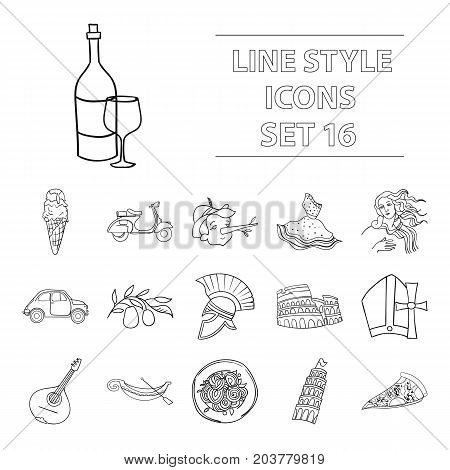 Italy country set icons in outline design. Big collection of Italy country vector symbol stock illustration