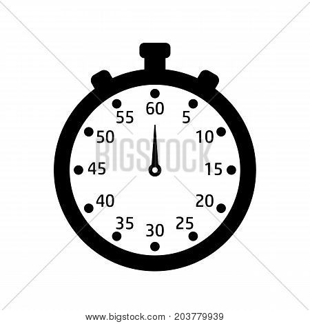 Black and white stopwatch. Icon of watch. Clock for sport.