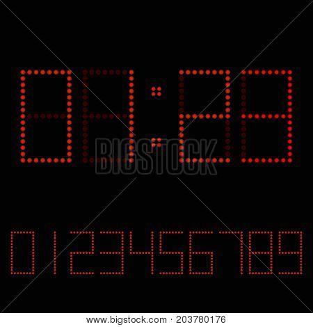 Digital clock. Red numbers on dark background for clock or scoreboard. Vector illustration.
