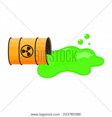 Barrel with spilled liquid. Radioactive sign. Green slime. Waste. Vector illustration.