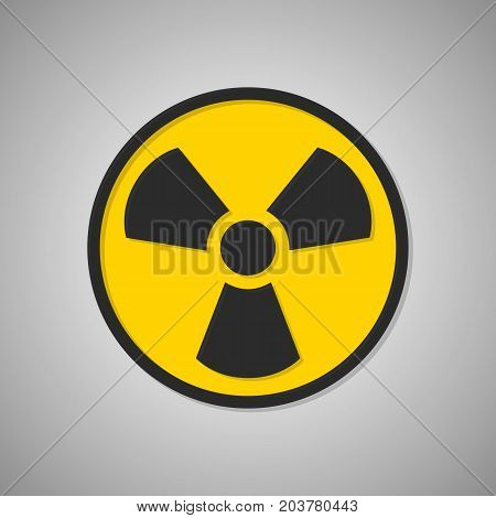 Toxic icon. Radioactive sign. Radiation. Vector illustration isolated on background. Black and yellow symbol.