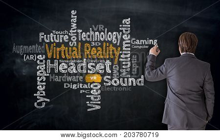 Businessman Writes Virtual Reality Cloud On Blackboard Concept