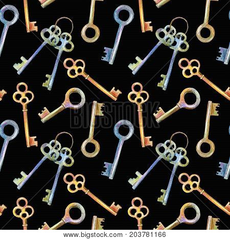 Seamless pattern of a keys.Watercolor hand drawn illustration.Black background.