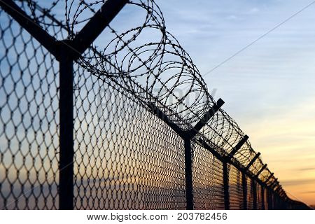 barbed wire fence on the european border