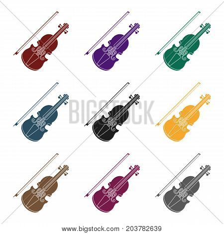 Violin icon in black style isolated on white background. Musical instruments symbol vector illustration
