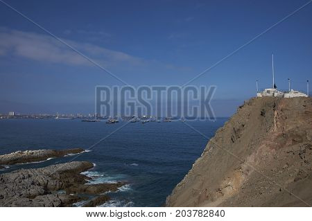 Monument to the Unknown Mariner on a rocky promontory a few kilometres north of the city of Iquique in northern Chile.