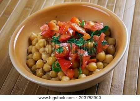 Lebanese Chickpea Balila , close up meal