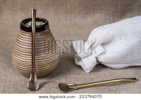yerba mate with accesories. south american drink