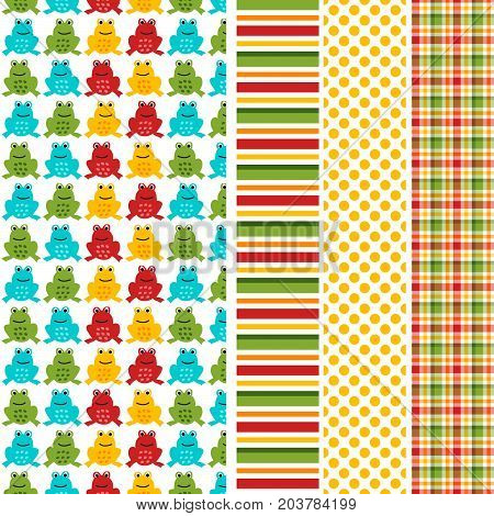 Colorful frog seamless pattern with coordinating stripe, polka dot and plaid print. Seamless patterns