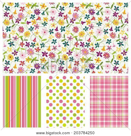 Floral ditsy with coordinating stripe, polka dot and plaid. Seamless patterns