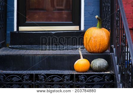 Thanksgiving Pumpkin Decoration On The Staircase