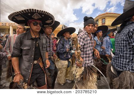 June 25 2017 Cotacachi Ecuador: the Inti Raymi parade occassionally turns violent between the participating indigenous groups