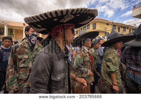 June 25 2017 Cotacachi Ecuador: the costumes worn during Inti Raymi by the indigenous people are a sign of revolt against the colonization
