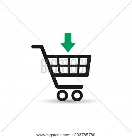 Shopping cart icon. Put in cart online shopping icon with arrow. Vector.