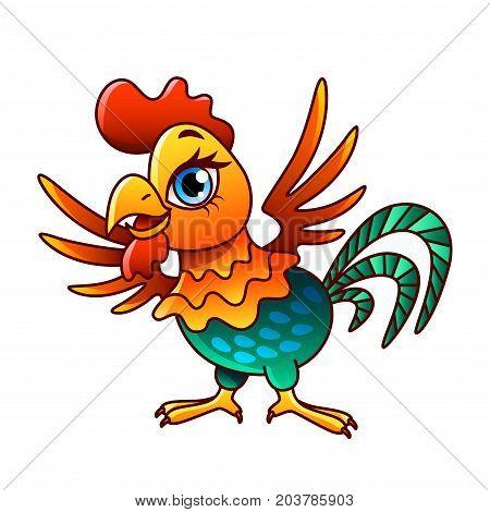 Cartoon chicken isolated on white vector illustration