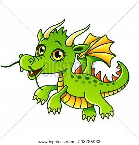 Cartoon dragon isolated on white vector illustration