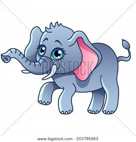 Cartoon elephant isolated on white vector illustration