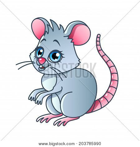 Cartoon mouse isolated on white vector illustration
