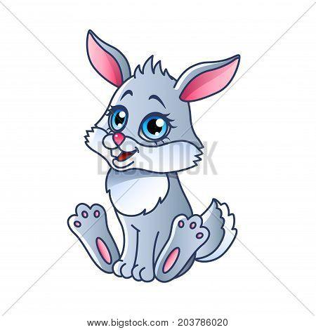 Cartoon rabbit isolated on white vector illustration