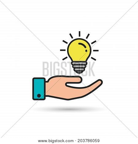Light bulb in hand color icon. Vector isolated illustration.