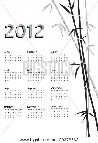 A 2012 calendar. Chinese style with bamboo background in black and white. Also available in vector.