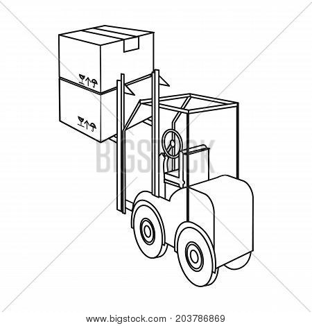 Cargo transportation by means of a loader. Transportation and delivery single icon in outline style isometric vector symbol stock illustration .