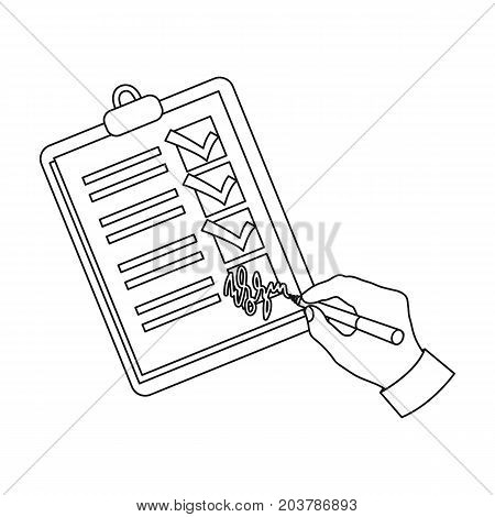 Signature of the delivery document. Logistics and delivery single icon in outline style isometric vector symbol stock illustration .