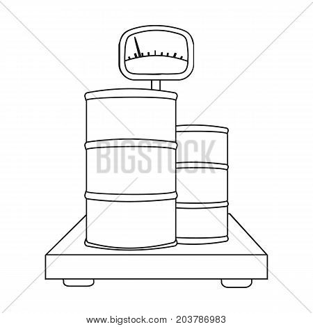 Weighing the load on the scales. Shipping and accounting single icon in outline style isometric vector symbol stock illustration .