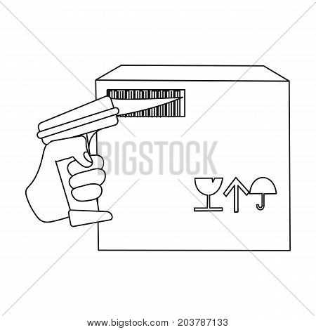 Scan the bar code on the box. Logistics and delivery single icon in outline style isometric vector symbol stock illustration .