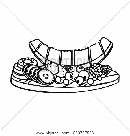 A set of various delicious fruits. Fruit single icon in outline style vector symbol stock illustration .