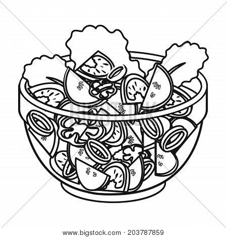 Delicious vegetable salad. Vegetarian food single icon in outline style vector symbol stock illustration .