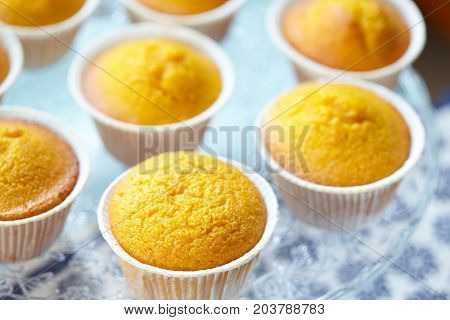 Closeup view of cake stand with Italian muffins called Camilla nade with carrot and almonds selective focus.