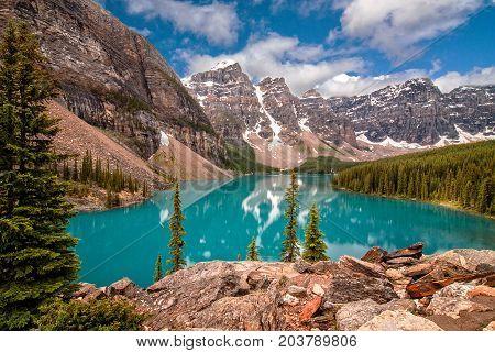 The majestic Moraine Lake in Banff Alberta Canada.