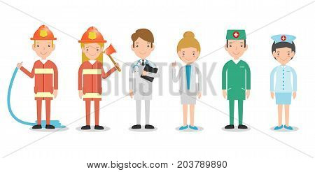 professions for people, set of cute professions isolated on white background, firefighters, doctor, nurse, male nurse, dream jobs, Vector Illustration